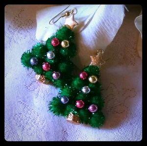 Vintage Christmas Tree Dangle Earrings